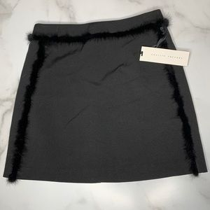English Factory Pencil Skirt with Faux Fur Trim